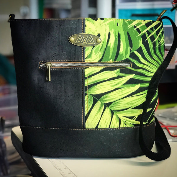 Pakeke - Green Leaves w/ Black - Handmade Vegan Cork Fabric Bags