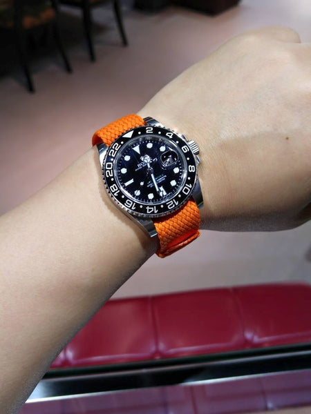 orange 20 mm perlon strap decowrist