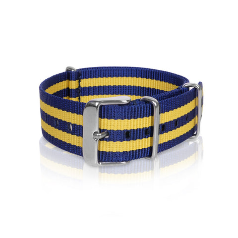 Nato Strap 18mm 20mm 22mm - Blue and Yellow Strips by decowrist.com