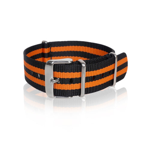 Nato Strap 18mm 20mm 22mm- Black & Orange Strips by Decowrist.com