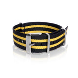 Nato Strap 18mm 20mm 22mm - Black & Yellow Strips by Decowrist.com