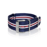 Nato Strap 18mm 20mm 22mm - Blue, White, Red Double Strips by Decowrist.com
