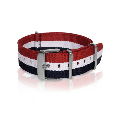 Nato Strap 18mm 20mm 22mm - Blue, White, Red Strips by Decowrist.com