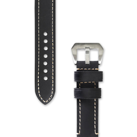 Leather Watch Strap | Black with Stitching | Decowrist.com