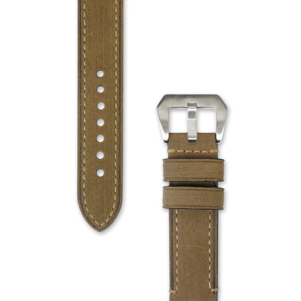 Leather Watch Strap | Mustard Yellow with Stitching | Decowrist.com