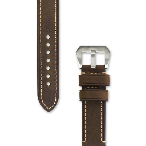 Leather Watch Strap | Brown with Stitching | Decowrist.com