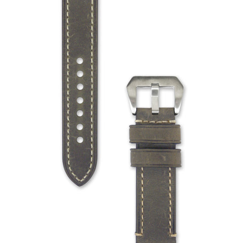 Leather Watch Strap | 20 mm 22 mm 24 mm Mustard Grey with Stitching | Decowrist.com