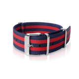 Nato Strap 18mm, 22mm- Blue & Red Double Strips by Decowrist.com