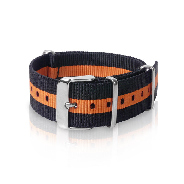 Nato Strap 22mm- Black & Orange Strips by Decowrist.com