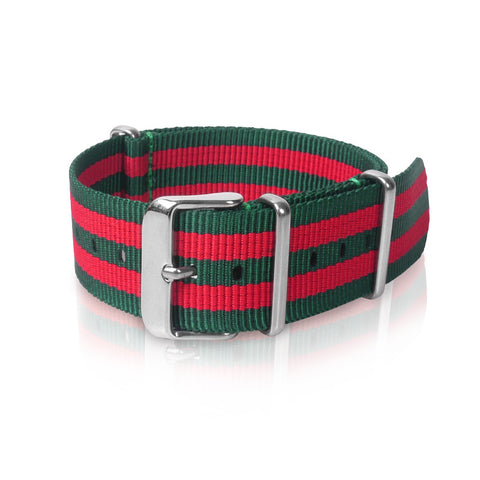 Nato Strap 22mm- Green & Red Double Strips by Decowrist.com