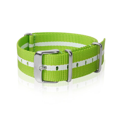Nato Strap 18mm- Lime & White Strips by Decowrist.com