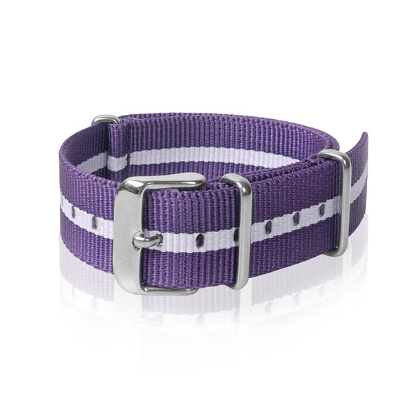 Nato Strap 18mm- Purple & White Strips by Decowrist.com