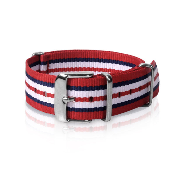 Nato Strap 18mm- Red Blue White Triples Strips by Decowrist.com