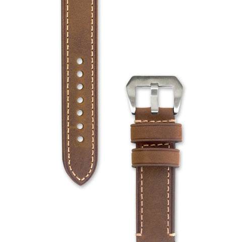 Leather Watch Strap | 20 mm Light Brown with Stitching | Decowrist.com