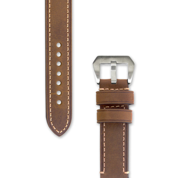 Leather Watch Strap | 22 mm Light Brown with Stitching | Decowrist.com