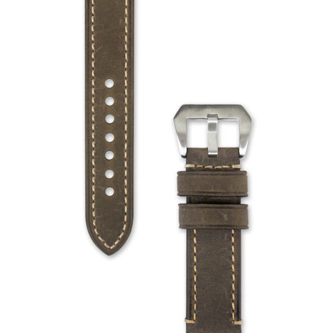 Leather Watch Strap | 22 mm Mustard Green with Stitching | Decowrist.com
