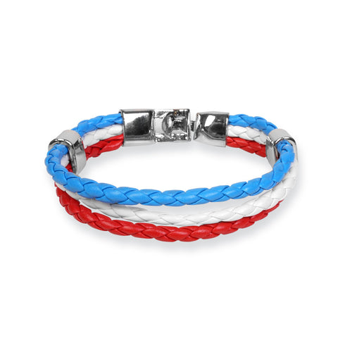 Braided PU leather Bracelet - Blue / White / Red