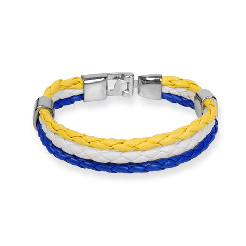 Braided PU leather Bracelet - Yellow / White / Blue