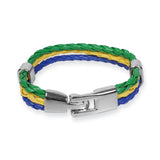 Braided PU leather Bracelet - Green / Yellow / Blue