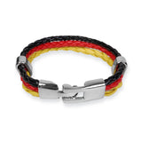 Braided PU leather Bracelet - Black / Red / Yellow