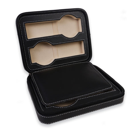 Personalized Portable Watch Case for 4 Watches - Black