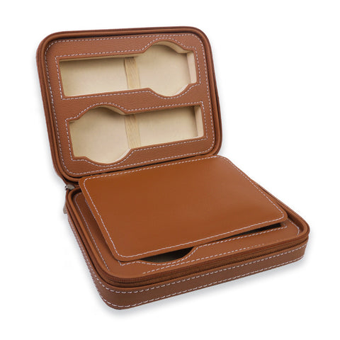 Personalized Portable Watch Case for 4 Watches - Light Brown
