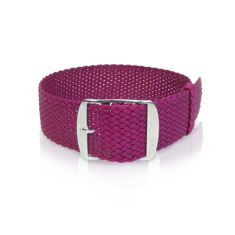 Perlon Strap Raspberry Color 22 mm by decowrist.com