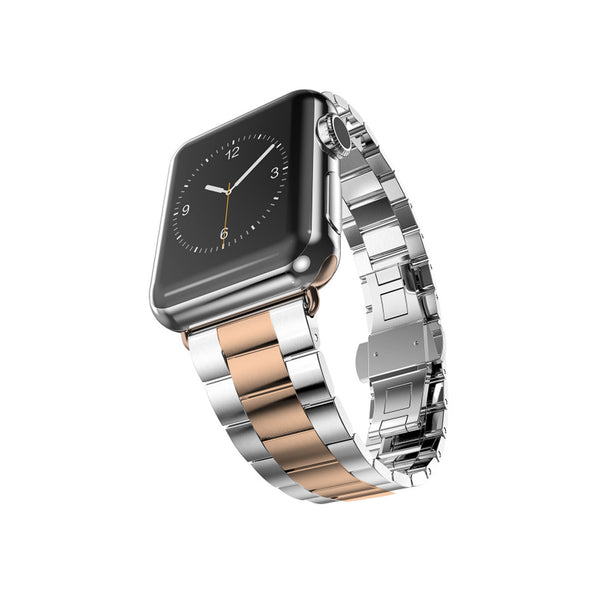 Silver With Rose Gold Stainless Steel Band For Apple Watch 38mm