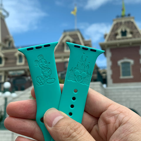 Disney Theme park - Mickey Mouse Castle with monogram inspired Laser Engraved Apple Watch Band