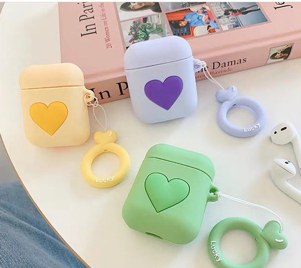 Colourful hearts silicone AirPods case with holding ring [AP007]