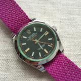 Perlon Strap Raspberry Color 20mm by decowrist.com