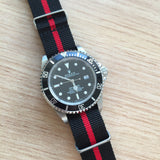 Nato Strap 18mm 20mm 22mm - Black & Red Strips by Decowrist.com