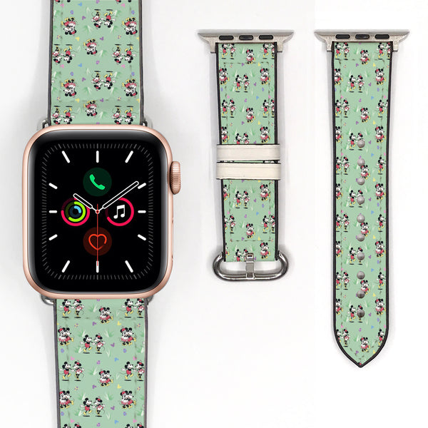 Disney Mickey Mouse and Minnie Mouse Inspired 38 40 42 44 mm Soft Silicon Sport Strap Apple Watch Band Vintage steamboat willie Style -v881