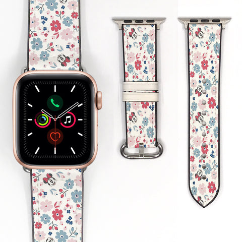 Vintage Minnie Mouse Inspired 38 40 42 44 mm Soft Silicon Apple Watch Band Rose Floral Flower -v889