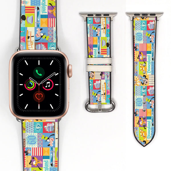 Disney Theme Park Attractions Mickey Minnie Mouse Inspired 38 40 42 44 mm Soft Silicon Sport Strap Apple Watch Band -v891