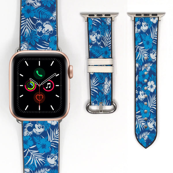 Disney Mickey Minnie Mouse Love Floral Flower Inspired 38 40 42 44 mm Soft Silicon Sport Strap Apple Watch Band -v895