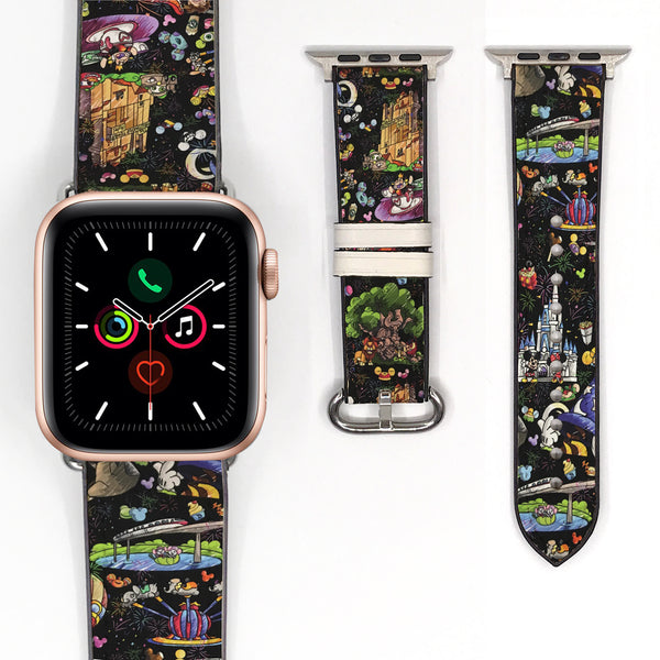 Disney Theme Park Attractions Mickey Minnie Mouse Inspired 38 40 42 44 mm Soft Silicon Sport Strap Apple Watch Band -v897