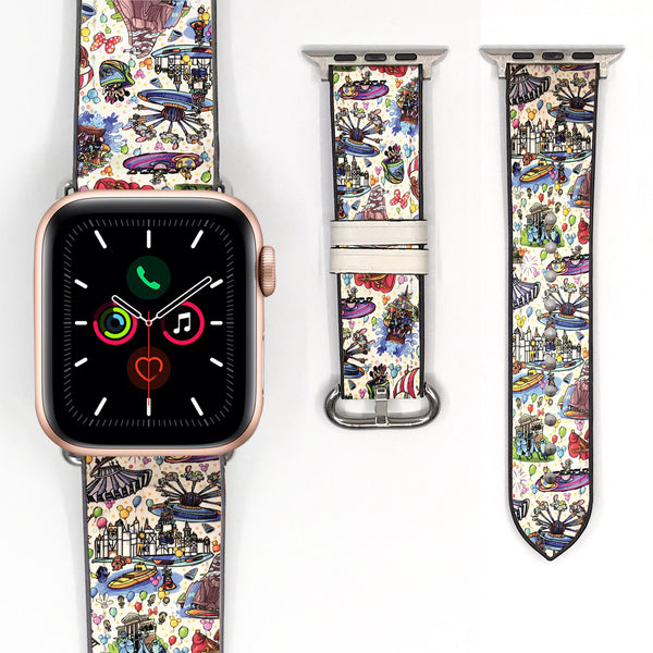 Disney Theme Park Attractions Mickey Minnie Mouse Inspired 38 40 42 44 mm Soft Silicon Sport Strap Apple Watch Band -v899