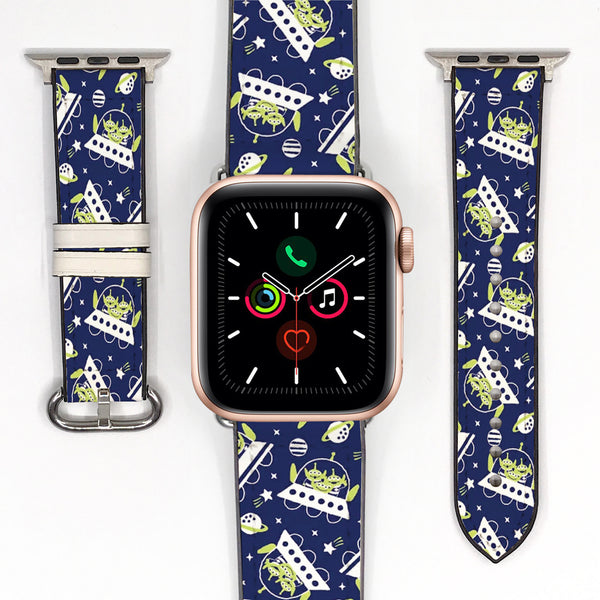 Disney Toy Story Space Aliens Inspired 38 40 42 44 mm Soft Silicon Sport Strap Apple Watch Band -v643