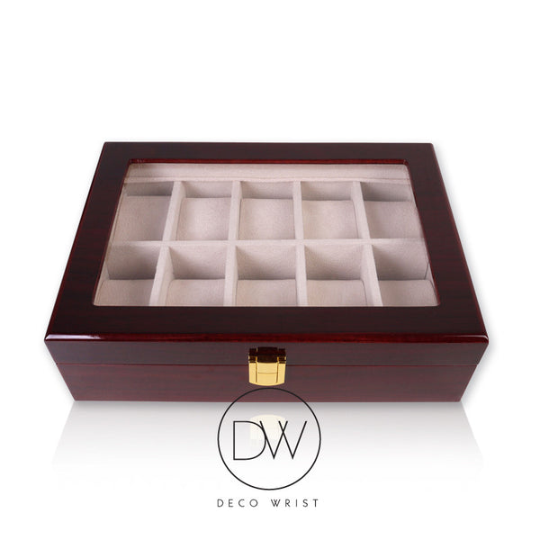 Wood Watch Box Display Case for 10 Watches decowrist.com