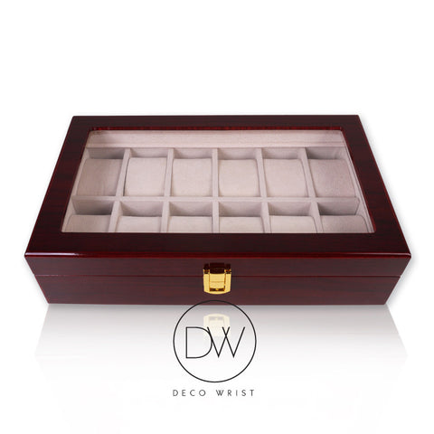 Wood Watch Box Display Case for 12 Watches decowrist.com
