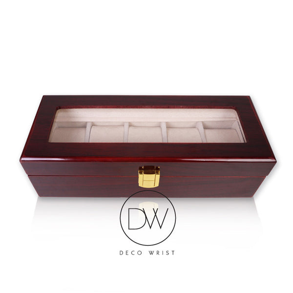 Wood Watch Box Display Case for 5 Watches decowrist.com