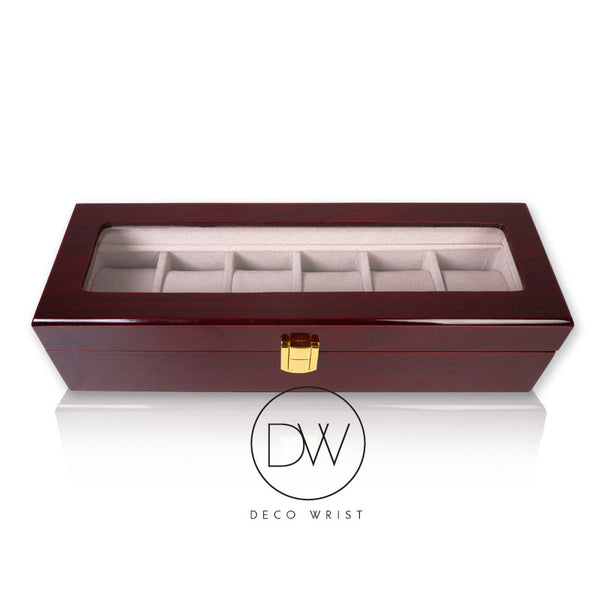 Wood Watch Box Display Case for 6 Watches decowrist.com