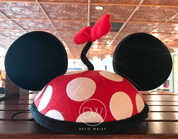 Authentic Disney Parks Minnie Mouse Red Black Mouse Ears Hat - Adult
