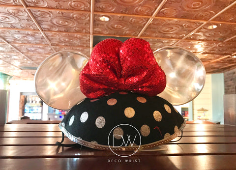 Authentic Disney Parks Minnie Mouse Black Silver Polka Dot Mouse Ears Hat - Adult