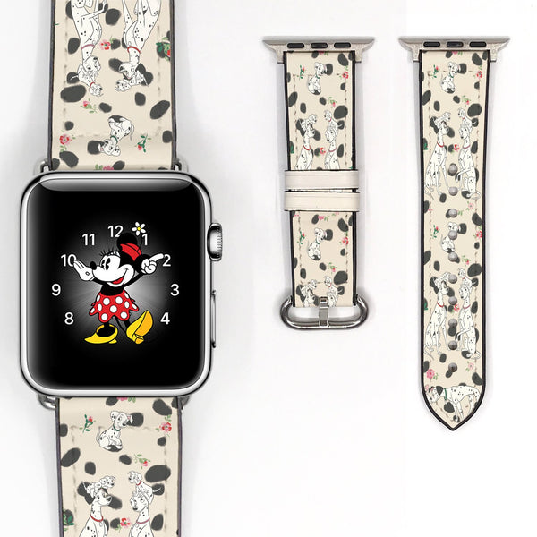 Disney 101 dalmatians Inspired 38 40 42 44 mm Soft Silicon Sport Strap Apple Watch Band Beige Black polka dot -v443