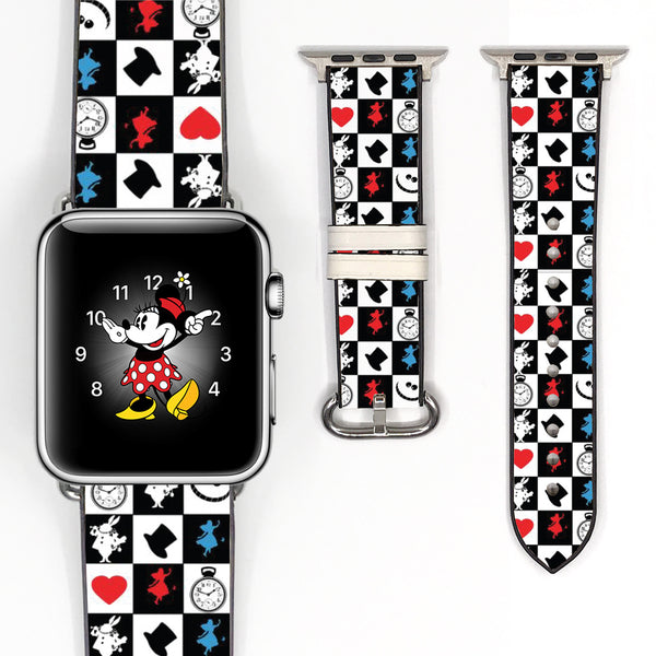 Disney Alice in the Wonderland Inspired 38 40 42 44 mm Soft Silicon Sport Strap Apple Watch Band -v619