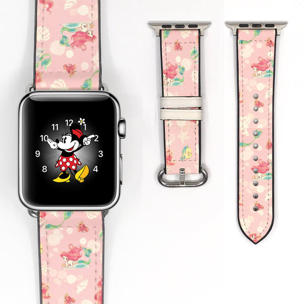 Disney Princess Ariel the little mermaid Inspired 38 40 42 44 mm Soft Silicon Sport Strap Apple Watch Band Pink -465