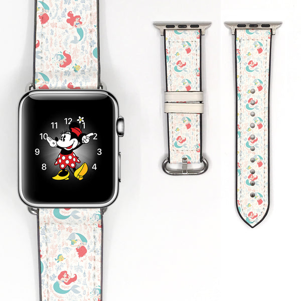 Disney Princess Ariel the little mermaid Inspired 38 40 42 44 mm Soft Silicon Sport Strap Apple Watch Band -v830