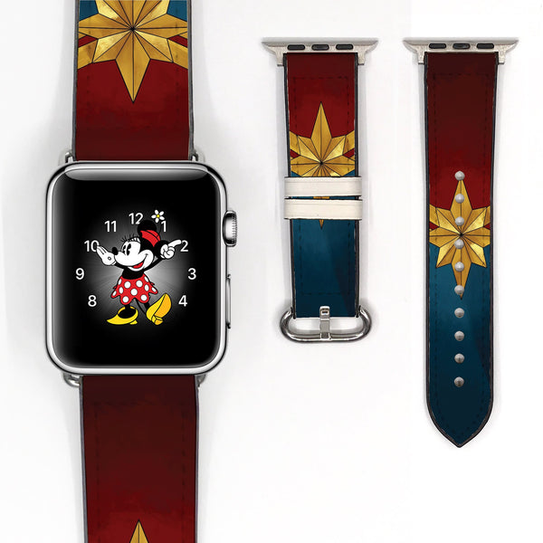 Disney Captain Marvel super heroes Inspired 38 40 42 44 mm Soft Silicon Sport Strap Apple Watch Band -v835